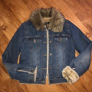 Abercrombie & Fitch Denim Jacket with Fur Collar